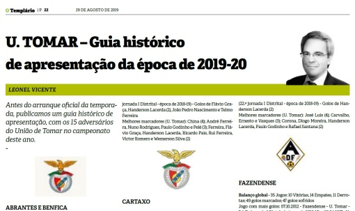 União Tomar - Guia histórico apresentação época - 2019-20